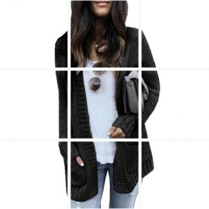 Autumn and Winter New   Hot Exclusive  Knitted Cardigan Sweater Coat - Black - XXXXX Large