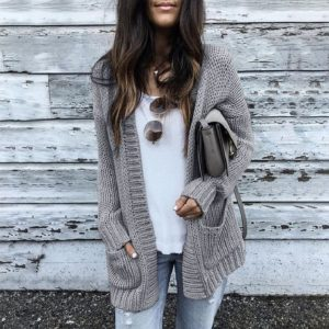 Autumn and Winter New   Hot Exclusive  Knitted Cardigan Sweater Coat - Dark Grey - XXXXX Large