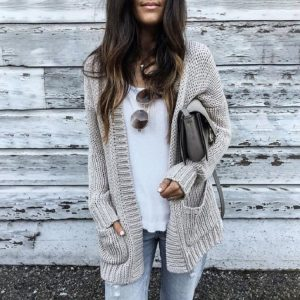 Autumn and Winter New   Hot Exclusive  Knitted Cardigan Sweater Coat - Light Gray - XXXXX Large
