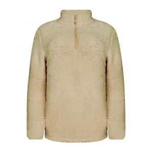 2021 Plus Size Autumn and Winter Plush Zipper Solid Color Long Sleeved Top Fleece Shirt - Apricot - XXX Large