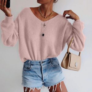 2021 Solid Color round Neck Long Sleeve Sweater - Pink - XX Large