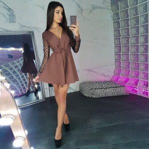 2021  Women Clothing Fall and Winter  Sexy V-neck Polka Dot Lace Stitching Tied Mini Short Dress for Women - Khaki - XX Large