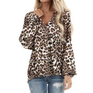 2021 New Leopard Print Autumn Chiffon round Neck Puff Sleeve Top - Multi - Extra Large