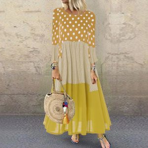 Plus Size Loose plus and Extra Size Polka Dot Stitching Long Sleeve round Collar Dress - Yellow - XXXXX Large