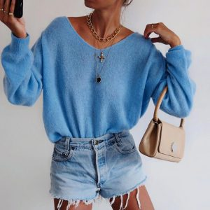 2021 Solid Color round Neck Long Sleeve Sweater - skyblue - XX Large