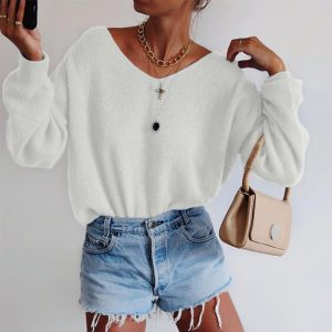 2021 Solid Color round Neck Long Sleeve Sweater - White - XX Large