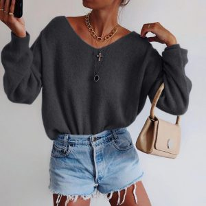 2021 Solid Color round Neck Long Sleeve Sweater - Dark Grey - XX Large