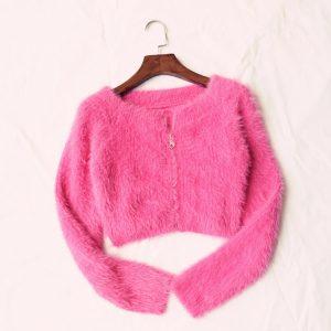 Fall Women Clothing New Coat Girl Purple Furry Zipper Mink Fur Knitted Cardigan - Pink - Medium