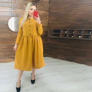2021 Spring and Summer Women Clothing Long Sleeve Solid Color round-Neck High Waist Button Midi Dress for Women - Yellow - XX Large