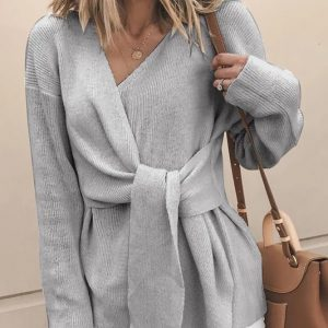 2021 New Knitted Style Fashionable V Neck Solid Color Belt Sweater - Gray - XX Large