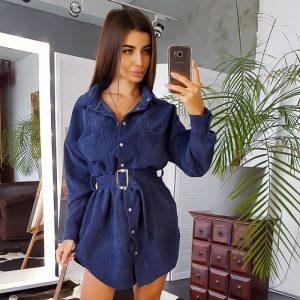 Women Clothing 2021 New Autumn Hot Dress Fashion Polo Collar Corduroy Belt Long Shirt - Blue - XX Large