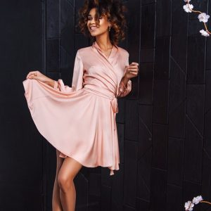 Dress Autumn 2021 New Female Long Sleeve Sexy V-neck Short Mini Retro Belt Slimming  Style Dress - Pink - XX Large