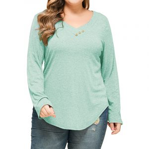 Plus Size Women  Clothes  Classic Look Loose Casual Bottoming Long Sleeve Knitted V-neck Top - Light Blue - XXXX Large