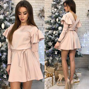 2021 Spring Solid Color round Neck V-neck Ruffled Short Mini Dress - Khaki - XX Large