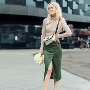 2021 Spring and Summer Solid Color Sexy Open Sheath Skirt Women - Green - Large