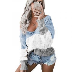 Autumn and Winter New  Women Clothing  Hot Knitwear V-neck off-Shoulder Twist Colored  Sweater - Blue - Extra Large