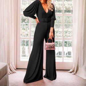 2021 Spring  Ladies V Neck Long Sleeve High Waist Fashion Jumpsuit - Black - Extra Large