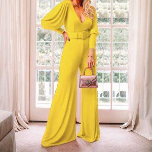 2021 Spring  Ladies V Neck Long Sleeve High Waist Fashion Jumpsuit - Yellow - Extra Large