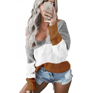 Autumn and Winter New  Women Clothing  Hot Knitwear V-neck off-Shoulder Twist Colored  Sweater - Gray - Extra Large