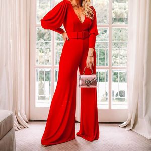 2021 Spring  Ladies V Neck Long Sleeve High Waist Fashion Jumpsuit - Red - Extra Large