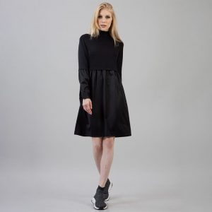 2021  Women Clothing Knitted Stitching Long Sleeve Stand Collar Solid Color Knee-Length Dress - Black - Extra Large