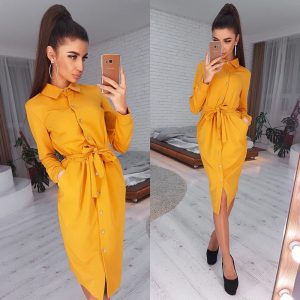 2021  Long Sleeve Solid Color Polo Collar and Polo Collar Single Breasted Belt Dress for Women - Yellow - XX Large