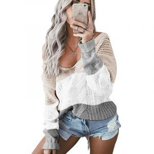 Autumn and Winter New  Women Clothing  Hot Knitwear V-neck off-Shoulder Twist Colored  Sweater - Khaki - Extra Large