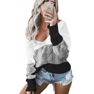 Autumn and Winter New  Women Clothing  Hot Knitwear V-neck off-Shoulder Twist Colored  Sweater - White - Extra Large