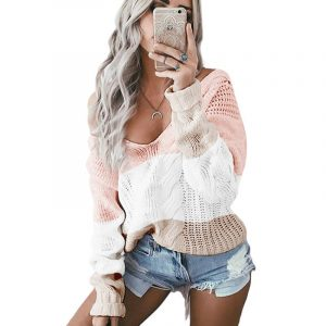 Autumn and Winter New  Women Clothing  Hot Knitwear V-neck off-Shoulder Twist Colored  Sweater - Pink - Extra Large