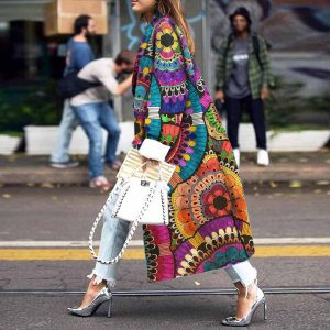 2021 Plus Size Hot Women Loose Printed Woolen Coat - With the Picture Color - XXX Large