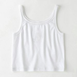 2021 Spring and Summer New Solid Color Camisole Short Bare Midriff Slim Fit Bottoming Shirt - White - Large