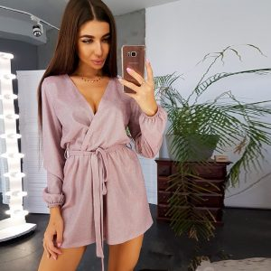 2021 Spring Long Sleeve Sexy Deep V-neck Shorts Casual Jumpsuit Women - Pink - XX Large