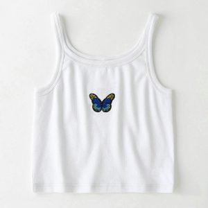 2021 Spring and Summer  Camisole Women  Butterfly Print Short Slim Fit Midriff-Baring Bottoming Shirt - Blue Embroidered Style - Large