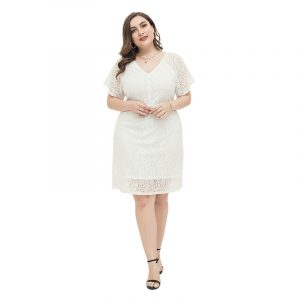 2021 Spring and Summer  Large Size Dress Lace Elegant Skirt Fat Sister V-neck Half-Length Dress - White - XXXX Large