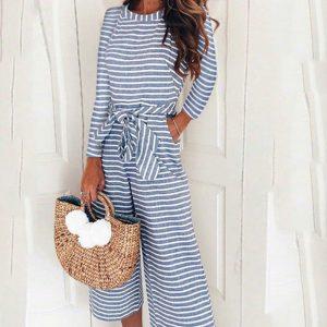 2021 Hot Women Striped Long Sleeve Jumpsuit Women - Blue - Extra Large