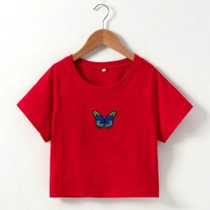 2021  Short T-shirt Butterfly Embroidered Navel Slim Short-Sleeved Tops Women  Clothing - Blue Embroidered Red Coat - Large