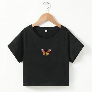 2021  Short T-shirt Butterfly Embroidered Navel Slim Short-Sleeved Tops Women  Clothing - Yellow Embroidered Black Coat - Large
