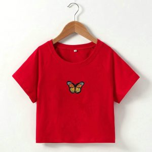 2021  Short T-shirt Butterfly Embroidered Navel Slim Short-Sleeved Tops Women  Clothing - Yellow Embroidered Red Coat - Large