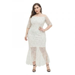 2021 Spring and Summer New Gentle Large Size Women  Clothing Plump Girls off-Shoulder Sexy Slim Lace Dress - White - XXXX Large