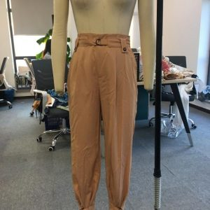 Casual High Waist Loose Cargo Pants Women Fashion Lace Up Ankle Banded Trousers High Street Office Lady Long Pants - Khaki - Large