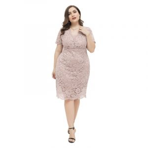 2021 Spring and Summer New Gentle Large Size Women Clothing Fat Sister Elegant Slim Lace Sheath V-neck Dress - Lotus root starch color - XXXX Large