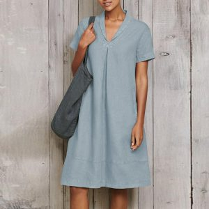 Plus Size Women Clothing 2021 Summer New  V Neck Cotton and Linen Dress Solid Color Casual Short Skirt - Light Blue - XXXXX Large