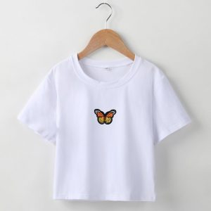 2021  Short T-shirt Butterfly Embroidered Navel Slim Short-Sleeved Tops Women  Clothing - Yellow Embroidered White Clothing - Large