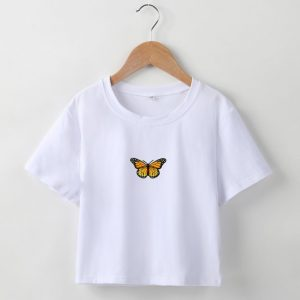 2021  Short T-shirt Butterfly Embroidered Navel Slim Short-Sleeved Tops Women  Clothing - Yellow Printings White Clothes - Large