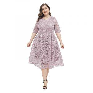 2021  Large Size Women  Light Dress Fresh Sweet Large Skirt Lace Short Sleeve Dress - Lotus Root Starch - XXXX Large