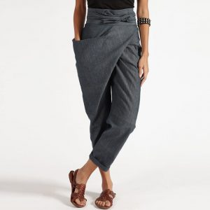 Plus Size Casual Pants Women Popular Irregular Lace up Fashion Cropped Pants - Gray - XXX Large