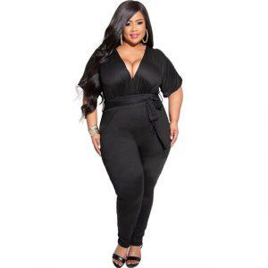 Women Clothing plus Size Sexy V-neck Waist Lace-up Pure Black High Waist Jumpsuit - Black - XXXX Large