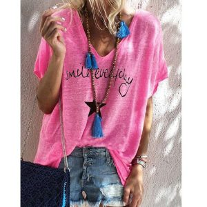 2021 New  Hot Edition Summer Printed V-neck Loose Short Sleeve T-shirt Female Spot plus size - Coral Red - XXX Large