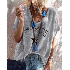 2021 New  Hot Edition Summer Printed V-neck Loose Short Sleeve T-shirt Female Spot plus size - Gray - XXX Large