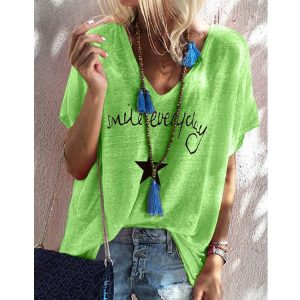 2021 New  Hot Edition Summer Printed V-neck Loose Short Sleeve T-shirt Female Spot plus size - Green - XXX Large